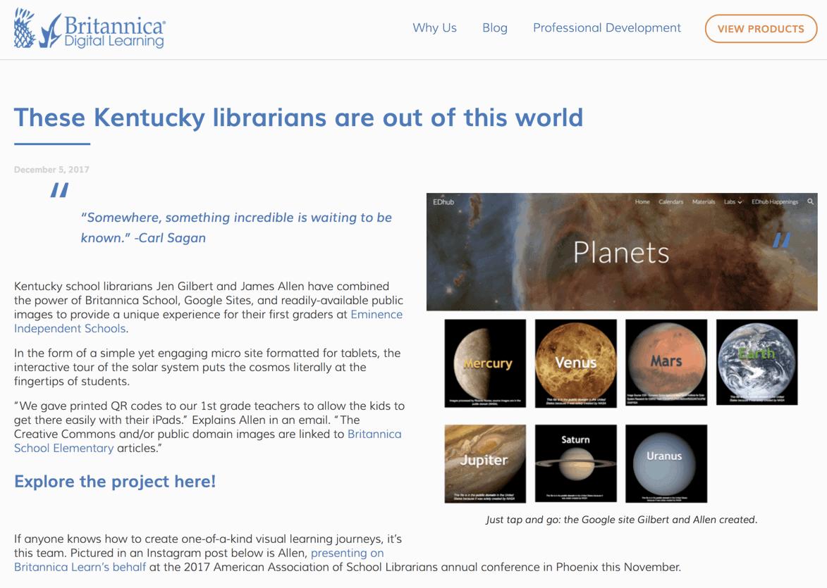 Screenshot of britannica learn blog post