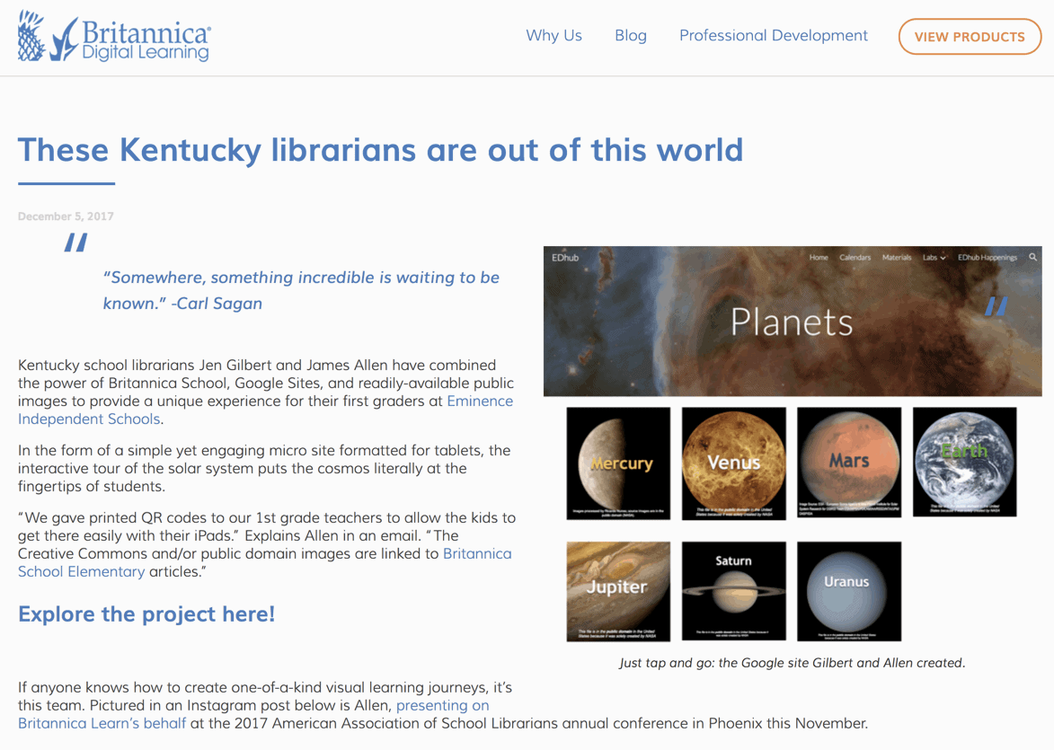screenshot of britannica blog